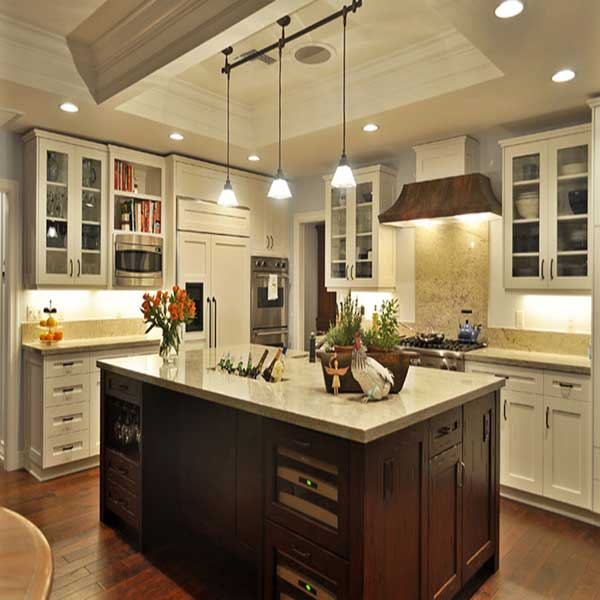Modern kitchen with island and new lighting